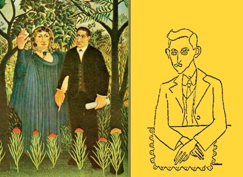 "Á dereita, o pintor Ben e Bóo visto por Luís Seoane en 1933. Á esquerda, a obra de Henri Rousseau ""Muse Inspiring the Poet (Portrait of Guillaume Apollinaire and Marie Laurencin)"", 1909, Kunstmuseum Basel, Switzerland."